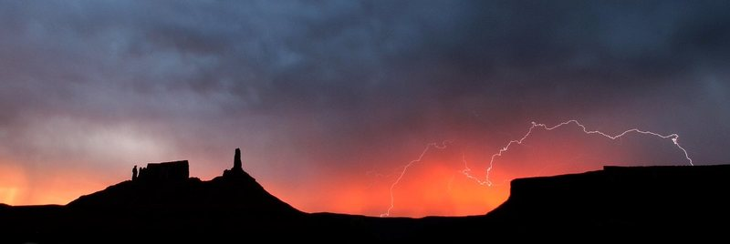 Rock Climbing Photo: july sunrise lightning