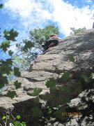 Rock Climbing Photo: Rachel leading The Memory of Trees -- gutsy young ...