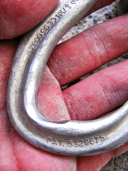 left carabiner wear on the anchors of No Remorse. Hard to see in the pic, but the worn edges are getting quite sharp.