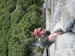 Rock Climbing Photo: Mark climbing Reeds Pinnacle and loving the short ...