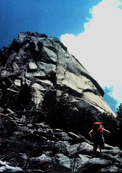 Questa Dome from approach trail just prior to FA, A Question of Balance, 1977