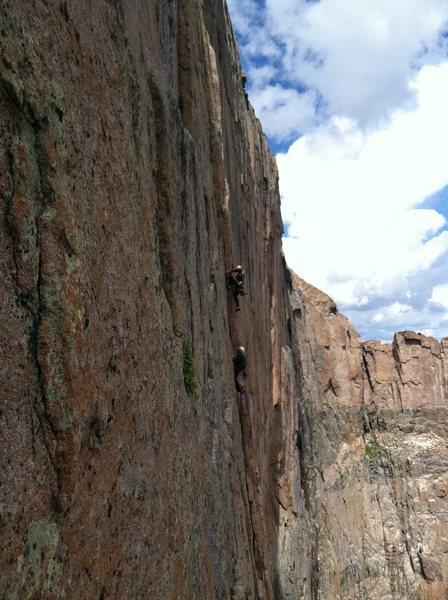 Rock Climbing Photo: Adrian leading the start of the A4 Traverse on the...