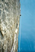 Rock Climbing Photo: Kishen Mangat on the crux.  Circa 1996.