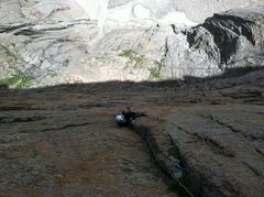 "Rock Climbing Photo: Monte Lunacek gains ""the ramp""."