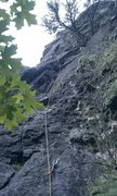 Rock Climbing Photo: looking up rain delay