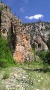 Rock Climbing Photo: Easy 5th up bushy gully east/left of tower; climb ...