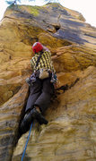 Rock Climbing Photo: Working up the overhang to the pod. This sets you ...