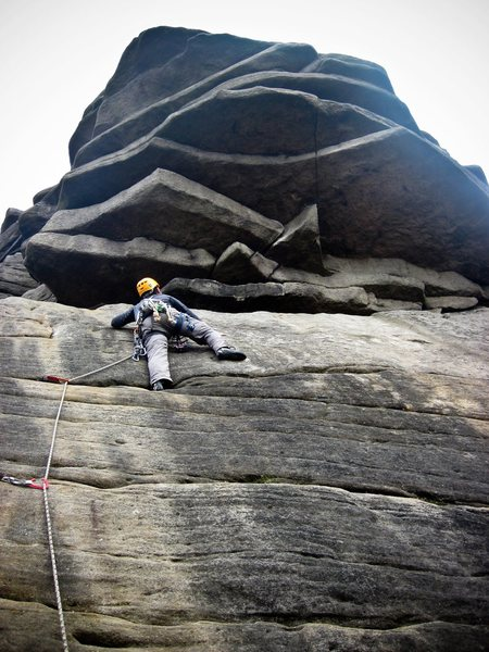Me on Flying Buttress, Stanage, England.
