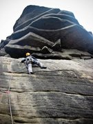 Rock Climbing Photo: Me on Flying Buttress, Stanage, England.