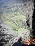 Rock Climbing Photo: The view from the belay ledge at the end of pitch ...