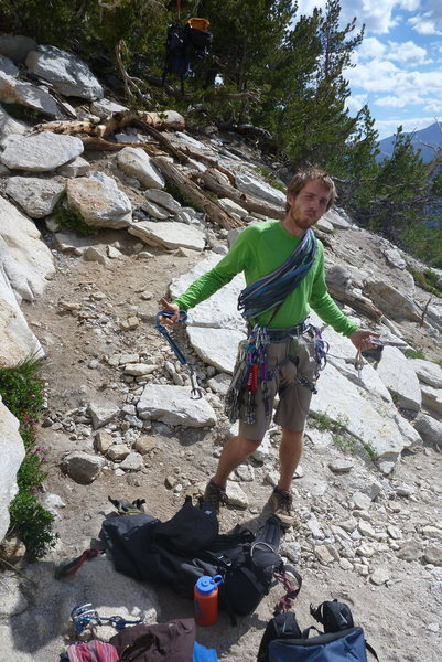 Rock Climbing Photo: Racking up for Cathedral Peak.