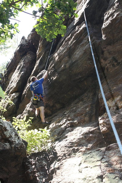 Car Wall<br> <br> Passing Lane (5.9) trad<br> <br> Crowders Mountain State Park, North Carolina