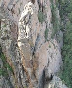Rock Climbing Photo: The keep from above with the route clealy visible....