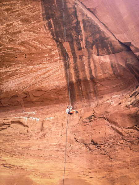 Jenna doing the open-air rappel. Photo by Brian Aitken.