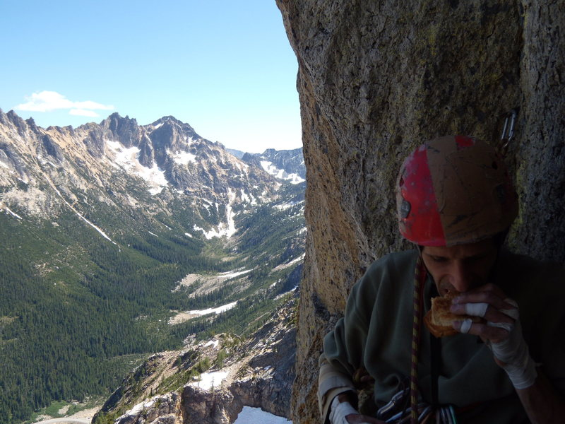 Belay on block atop pitch 6.