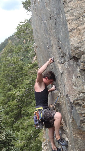 """Bobby testing a piece with a rest midway up """"Up a Cliff Without a Ladder""""."""
