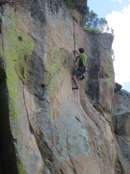 John setting up into the incredible technical crux at the top of Free Radical.