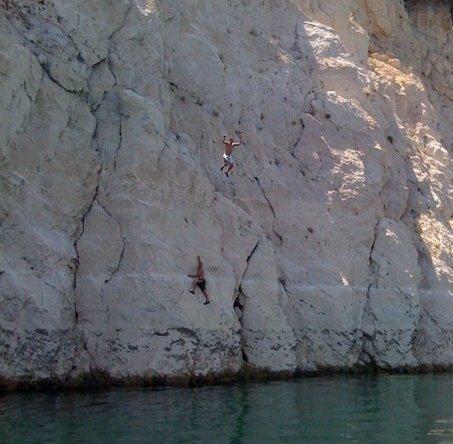 Free climbing in Lake Mead