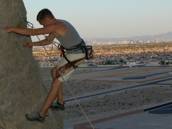Me climbing Lone Mountain with Las Vegas strip in background