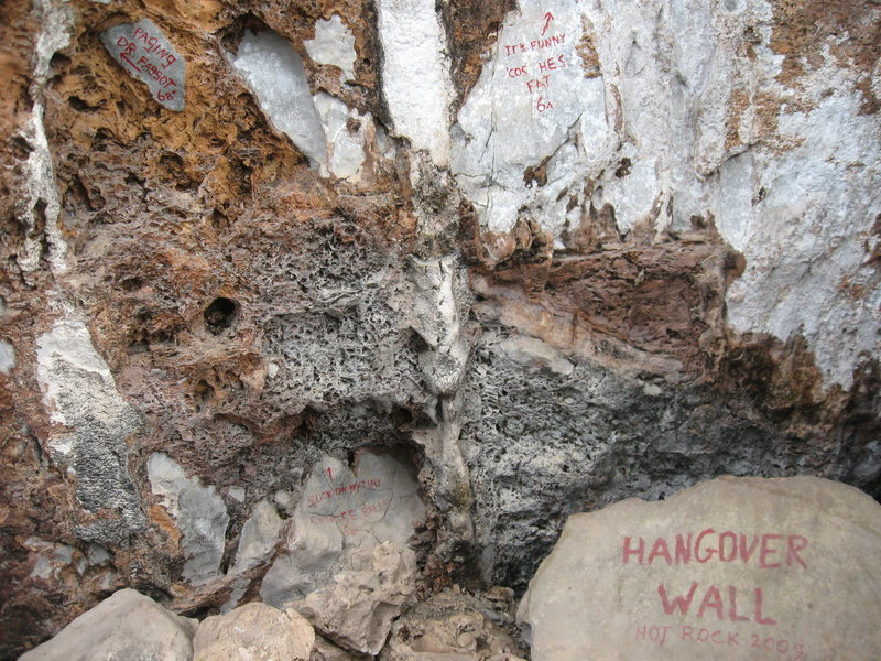 This photo shows the Hangover Wall portion of the Main Wall at Pha Daeng Mountain in Vang Vieng, Laos. The Left Wall is to the left of these routes that were established as part of the Hot Rock Tour in 2009. Note the classy route names...