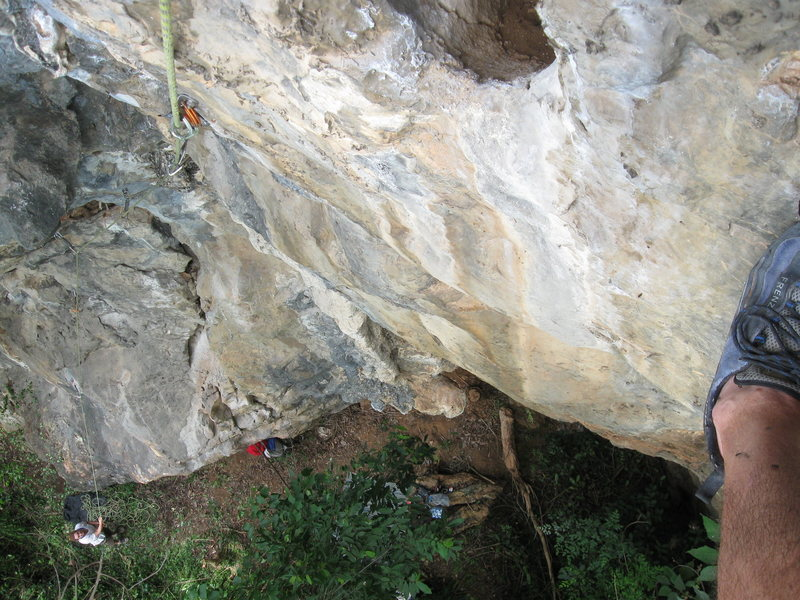 Looking down from the final anchor on Jewel of the Mekong (5.10-).