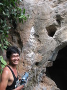 Rock Climbing Photo: Yai smiling after drilling the first bolt on Have ...