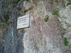"Rock Climbing Photo: The memorial to Rudl Buchner. It says ""Dedica..."