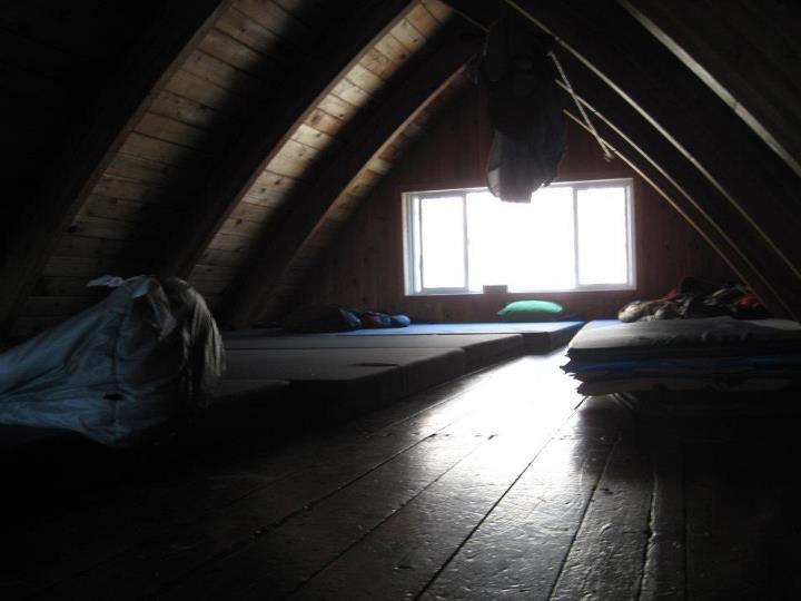 Sleeping loft accomodations at the Kain Hut