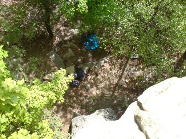 Rock Climbing Photo: Can you find Keith? Pilot Mountain, NC (2008).  Th...