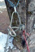 Rock Climbing Photo: carabiner block rappel setup