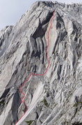 Rock Climbing Photo: The route is in red.