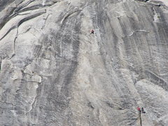 Rock Climbing Photo: Making the move to the chains at the top of pitch ...