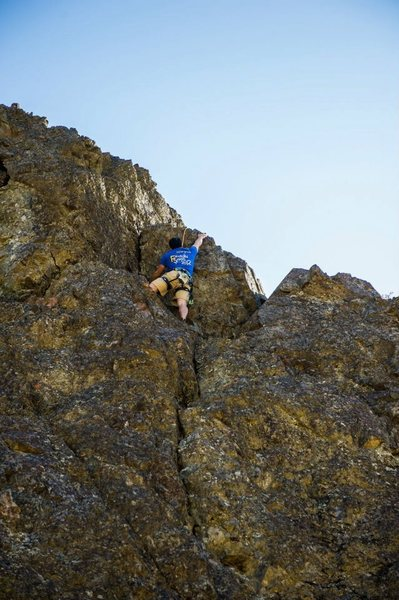 Rock Climbing Photo: Scott following, at the crux move. Photo Credit Cl...