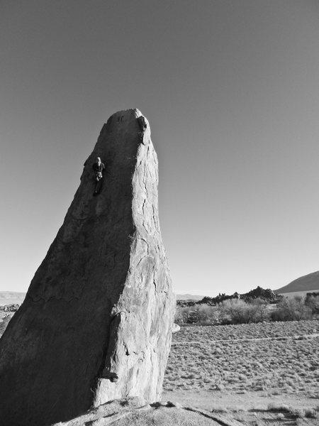 Rock Climbing Photo: Bunny on the Shark's Fin. Alabama Hills - Lone Pin...