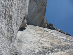 Rock Climbing Photo: looking up from P2 to the sustained P3 arch roof s...