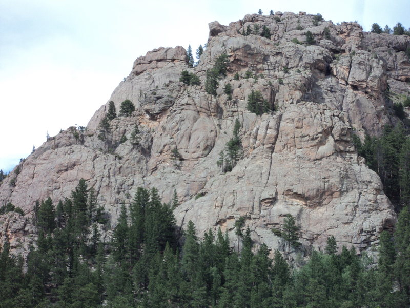 The Pulpit Rock massif.<br> <br> Pulpit Rock is the pear-shaped rock in the lower right.