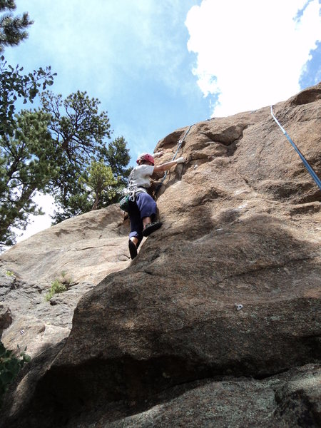 "Deb begins the crux sequence.  This is harder if you are 5'5""."