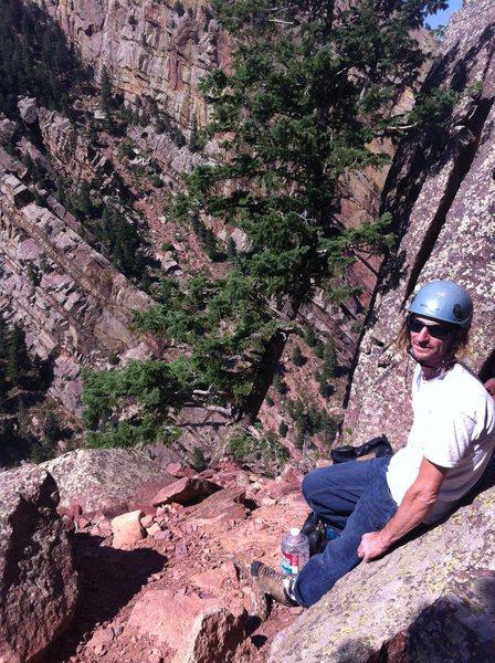 Mike on ledge below Lower Peanuts Wall....