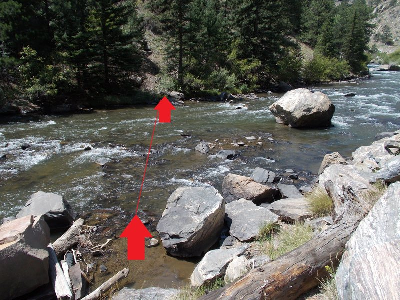 Rock Climbing Photo: Red arrows show our river crossing path, still 36&...