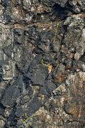 Rock Climbing Photo: Black Powder pitch 2 detail topo