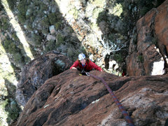 Rock Climbing Photo: Marcy near the end of the climb