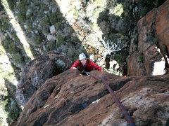 Rock Climbing Photo: Marcy near the end of the climb