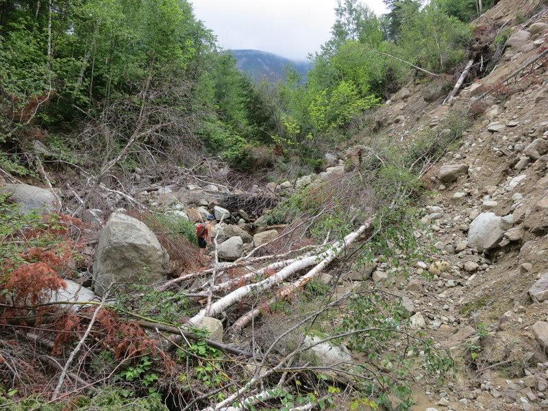 The drainage leading to the Eagle Slide.