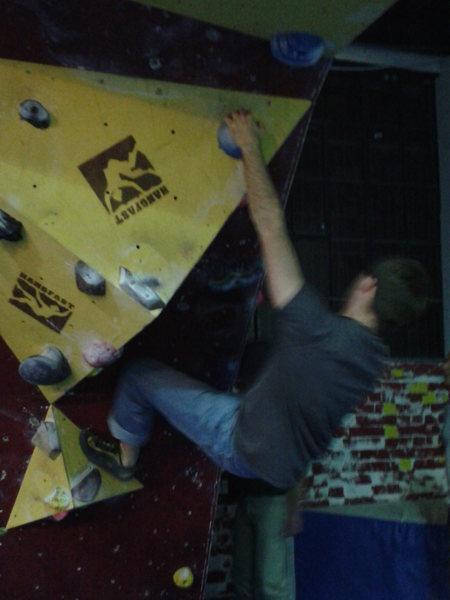 Me climbing at the Climbing Depot in England.