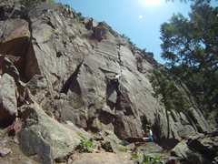 "Rock Climbing Photo: Crux move on ""Chockstone"", what a great ..."