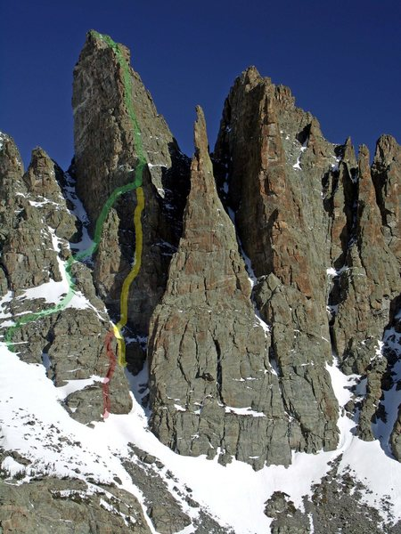 Rock Climbing Photo: Red - alternate start. Yellow - traditional line. ...