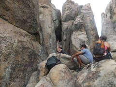 Rock Climbing Photo: Base of AARP. I am gesturing at the route, out of ...