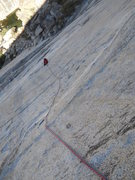 Rock Climbing Photo: Looking down at the belay from above the steep sec...