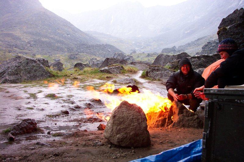 Rock Climbing Photo: keeping warm in the rain