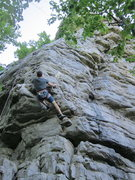 Rock Climbing Photo: Through the small overhang and up the arete. We us...